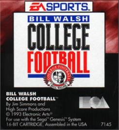Cartridge artwork for Bill Walsh College Football on the Sega Nomad.