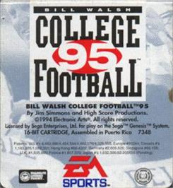 Cartridge artwork for Bill Walsh College Football 95 on the Sega Nomad.