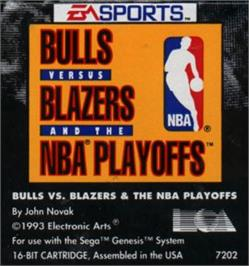 Cartridge artwork for Bulls vs. Blazers and the NBA Playoffs on the Sega Nomad.