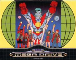 Cartridge artwork for Captain Planet and the Planeteers on the Sega Nomad.