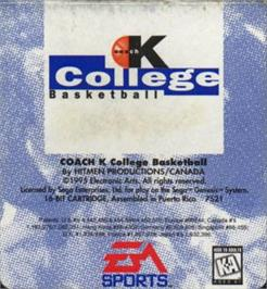 Cartridge artwork for Coach K College Basketball on the Sega Nomad.