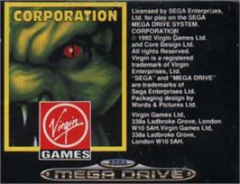 Cartridge artwork for Corporation on the Sega Nomad.