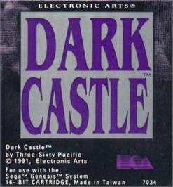 Cartridge artwork for Dark Castle on the Sega Nomad.
