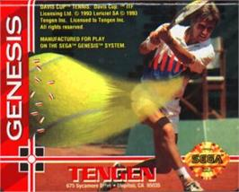 Cartridge artwork for Davis Cup World Tour Tennis on the Sega Nomad.