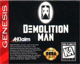 Cartridge artwork for Demolition Man on the Sega Nomad.