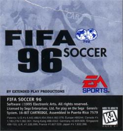 Cartridge artwork for FIFA 96 on the Sega Nomad.