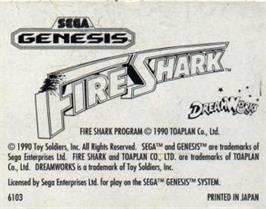 Cartridge artwork for Fire Shark on the Sega Nomad.