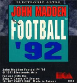 Cartridge artwork for John Madden Football '92 on the Sega Nomad.