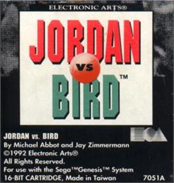 Cartridge artwork for Jordan vs. Bird: One-on-One on the Sega Nomad.