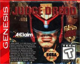 Cartridge artwork for Judge Dredd on the Sega Nomad.