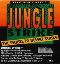Cartridge artwork for Jungle Strike on the Sega Nomad.