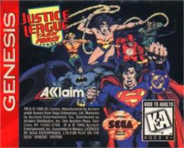 Cartridge artwork for Justice League Task Force on the Sega Nomad.