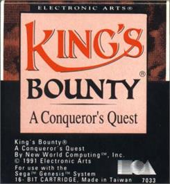 Cartridge artwork for King's Bounty on the Sega Nomad.
