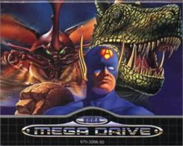 Cartridge artwork for King of the Monsters on the Sega Nomad.