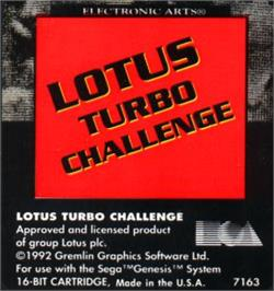 Cartridge artwork for Lotus Turbo Challenge 2 on the Sega Nomad.