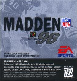 Cartridge artwork for Madden NFL '96 on the Sega Nomad.