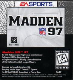 Cartridge artwork for Madden NFL '97 on the Sega Nomad.