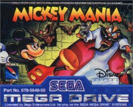 Cartridge artwork for Mickey Mania on the Sega Nomad.