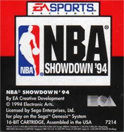 Cartridge artwork for NBA Showdown on the Sega Nomad.
