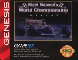 Cartridge artwork for Nigel Mansell's World Championship on the Sega Nomad.
