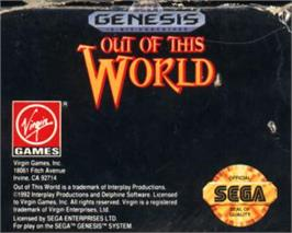 Cartridge artwork for Out of This World on the Sega Nomad.