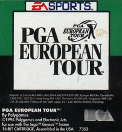 Cartridge artwork for PGA European Tour on the Sega Nomad.