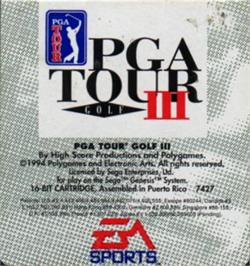 Cartridge artwork for PGA Tour Golf 3 on the Sega Nomad.