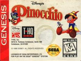 Cartridge artwork for Pinocchio on the Sega Nomad.