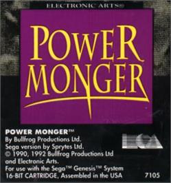 Cartridge artwork for Powermonger on the Sega Nomad.