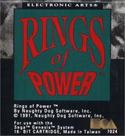 Cartridge artwork for Rings of Power on the Sega Nomad.