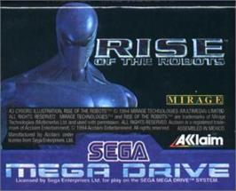 Cartridge artwork for Rise of the Robots on the Sega Nomad.