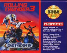 Cartridge artwork for Rolling Thunder 3 on the Sega Nomad.