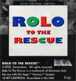Cartridge artwork for Rolo to the Rescue on the Sega Nomad.