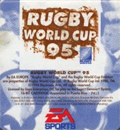 Cartridge artwork for Rugby World Cup 95 on the Sega Nomad.