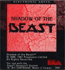 Cartridge artwork for Shadow of the Beast on the Sega Nomad.