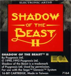 Cartridge artwork for Shadow of the Beast 2 on the Sega Nomad.