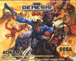 Cartridge artwork for Sunset Riders on the Sega Nomad.
