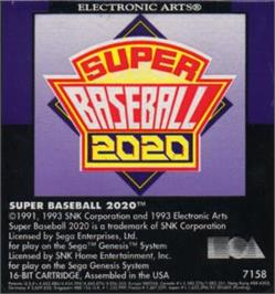 Cartridge artwork for Super Baseball 2020 on the Sega Nomad.