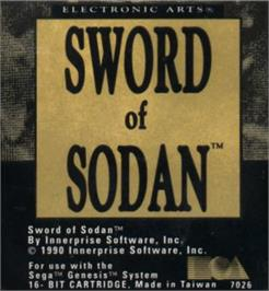 Cartridge artwork for Sword of Sodan on the Sega Nomad.