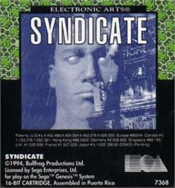 Cartridge artwork for Syndicate on the Sega Nomad.