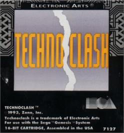 Cartridge artwork for Techno Clash on the Sega Nomad.