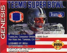 Cartridge artwork for Tecmo Super Bowl on the Sega Nomad.