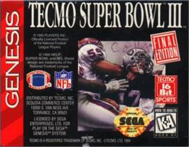 Cartridge artwork for Tecmo Super Bowl III: Final Edition on the Sega Nomad.