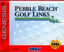 Cartridge artwork for True Golf Classics: Pebble Beach Golf Links on the Sega Nomad.