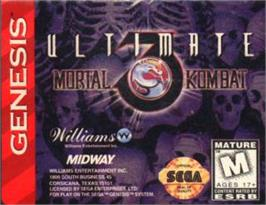 Cartridge artwork for Ultimate Mortal Kombat 3 on the Sega Nomad.