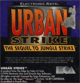 Cartridge artwork for Urban Strike on the Sega Nomad.