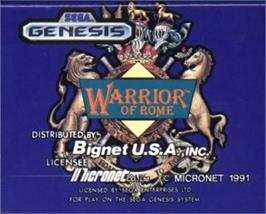 Cartridge artwork for Warrior of Rome on the Sega Nomad.