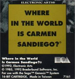 Cartridge artwork for Where in the World is Carmen Sandiego on the Sega Nomad.
