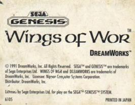 Cartridge artwork for Wings of Wor on the Sega Nomad.