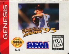 Cartridge artwork for World Series Baseball '95 on the Sega Nomad.